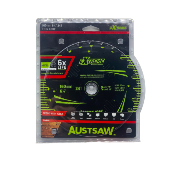 Austsaw Extreme Blade 160mm x 20mm Bore 40T TBPP1602040T